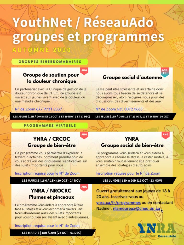Groupes et programmes de l'automne 2020